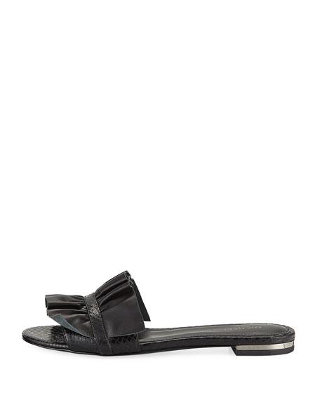 Bella Ruched Slide Flat Sandal