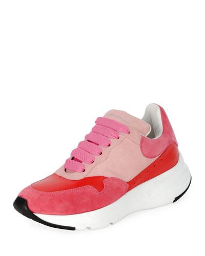 Pelle Colorblock Platform Trainer Sneaker