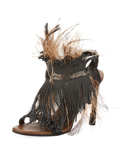 Monili and Feather Sandal