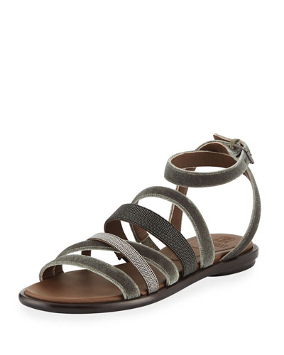 Velvet And Monili Multi-Strap Sandal