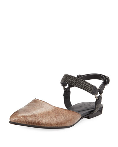 Metallic Leather Mule w/ Monili Ankle Strap