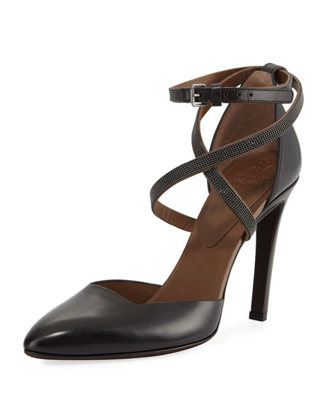 Brunello Cucinelli Leather d'Orsay 100mm Pump