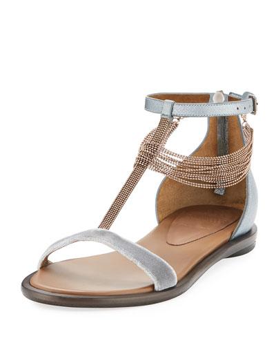 Velvet T-Strap Sandal with Monili Drape
