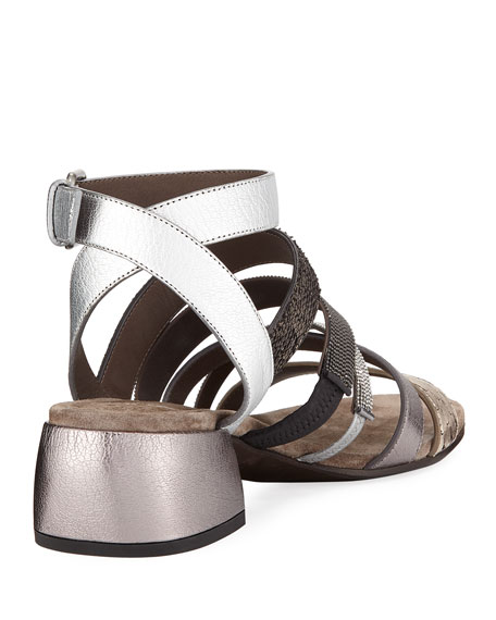 Mixed-Media Multi-Strap Block-Heel Sandal