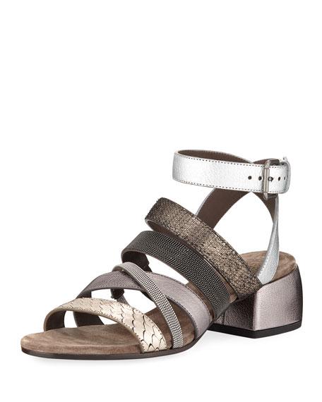 Brunello Cucinelli Mixed-Media Multi-Strap Block-Heel Sandal