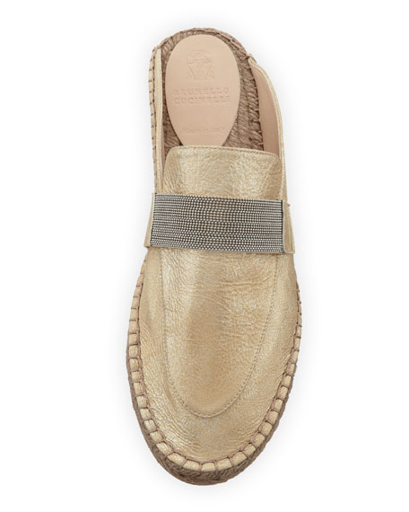 Metallic Leather Monili Espadrille Mule