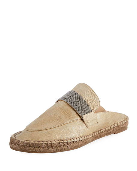 Brunello Cucinelli Metallic Leather Monili Espadrille Mule