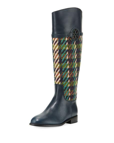 Tory Burch Miller Tweed/Leather Knee Boot