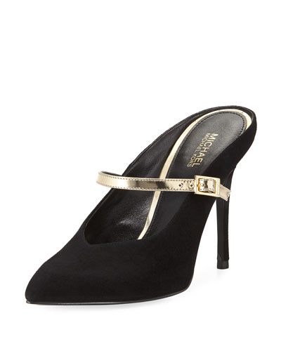 Tiegan Suede Mule with Metallic Mary Jane Strap