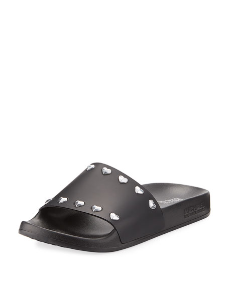 MICHAEL Michael Kors Zooey Heart-Stud Pool Slide Sandal