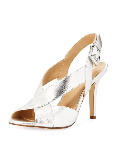 MICHAEL Michael Kors Becky Metallic Leather Slingback Sandal