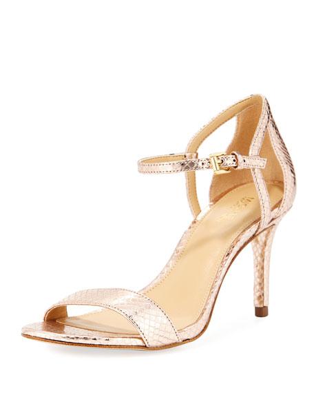 Simone Mid-Heel Metallic Snake-Embossed Sandal