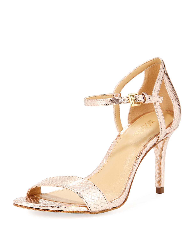 36bf29a64 MICHAEL Michael Kors Simone Mid-Heel Metallic Snake-Embossed Sandal ...