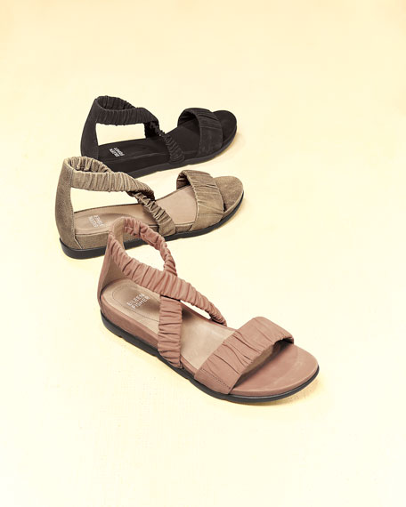 Dylan Scrunched Metallic Suede Flat Sandal