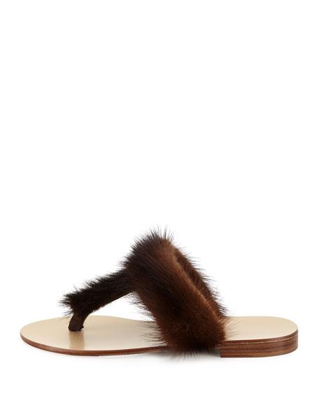 T-Strap Fur Flat Slide Sandal