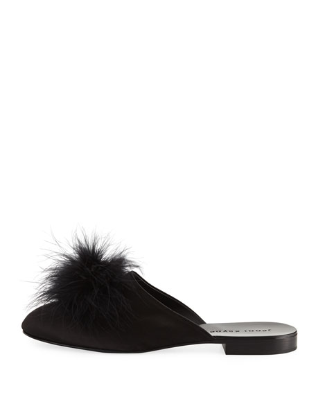 Satin Flat Slipper with Feather Puff