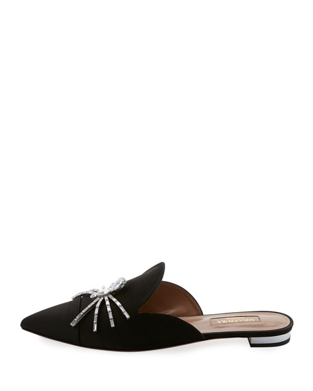 Crystal Spider Satin Flat Mule