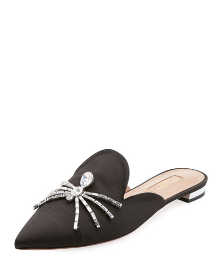 Crystal Spider-Embellished Satin Backless Flats in Black
