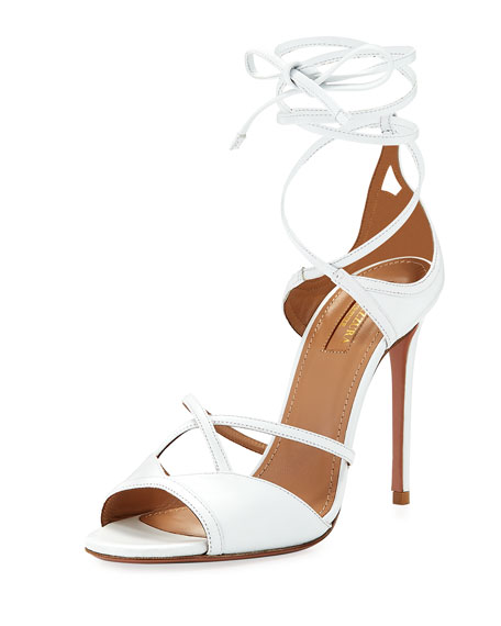 Aquazzura Nathalie 105mm Crisscross Leather Sandal