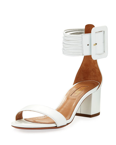 Aquazzura Casablanca 50mm Leather Ankle-Strap Sandal