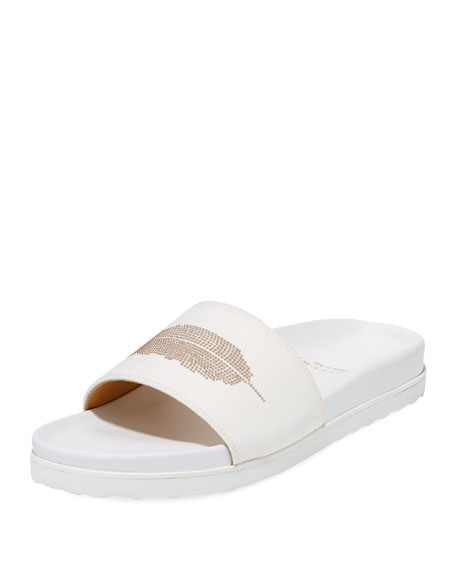 Buscemi Feather Stud Slide Sandal