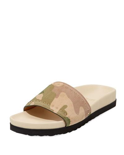 Camouflage Studded Pool Slide Sandal