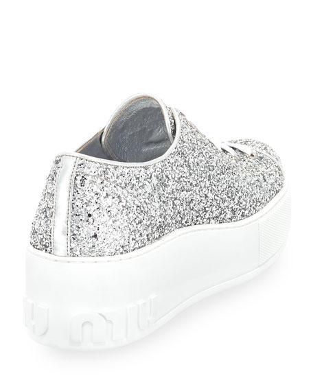 Glitter Platform 55mm Sneakers, Silver