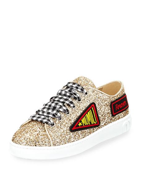 Miu Miu Glitter Sneaker with Patches, Gold