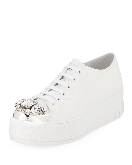 Jeweled Leather Platform Sneakers, White