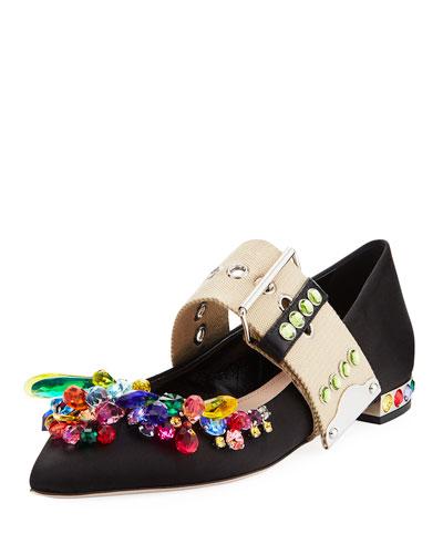 Multicolor Jeweled Satin Skimmer, Black