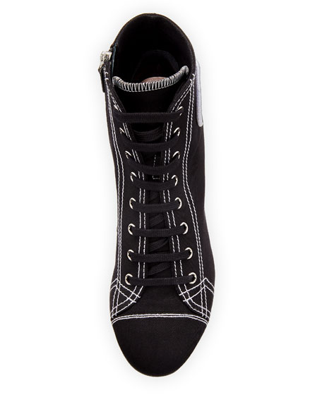 Canvas Lace-Up Sneaker Bootie