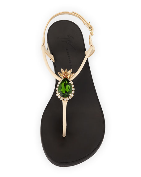 Flat Metallic Leather Thong Sandal with Pineapple Jewel
