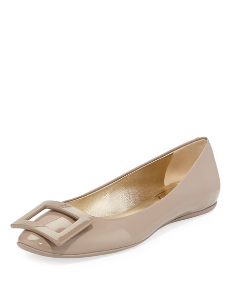 Gommette Leather Buckle Ballet Flats