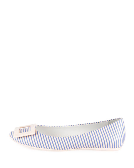Gommette Striped Canvas Ballerina Flat, Purple/White