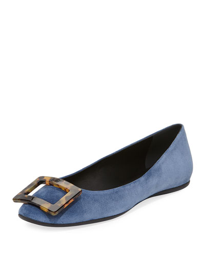 Gommette Tortoiseshell-Buckle Calf Suede Flat