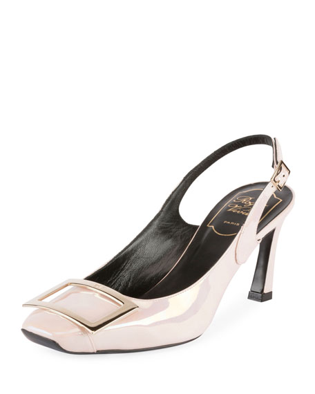Trompette 70mm Iridescent Leather Slingback Pump