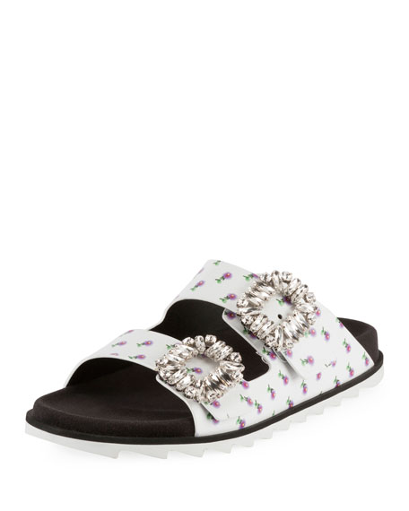 Slidy Viv Strass-Buckle Two-Band Slide Sandal