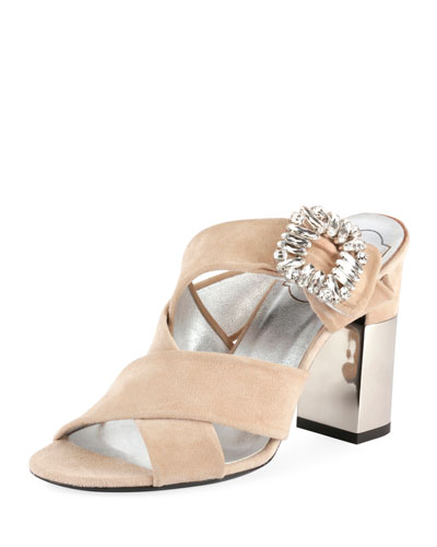 Podium Suede Strass-Buckle Mule Sandal