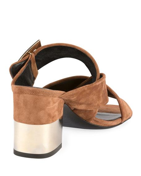 Podium Suede Pilgrim Buckle Mule Sandal