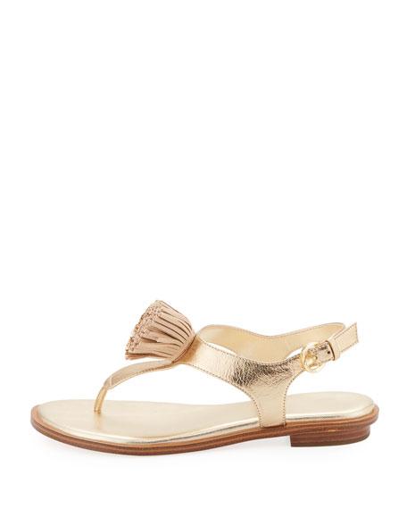 Lolita Fringe Flat Metallic Thong Sandal