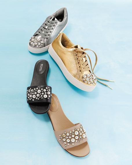 Gia Embellished Flat Slide Sandal
