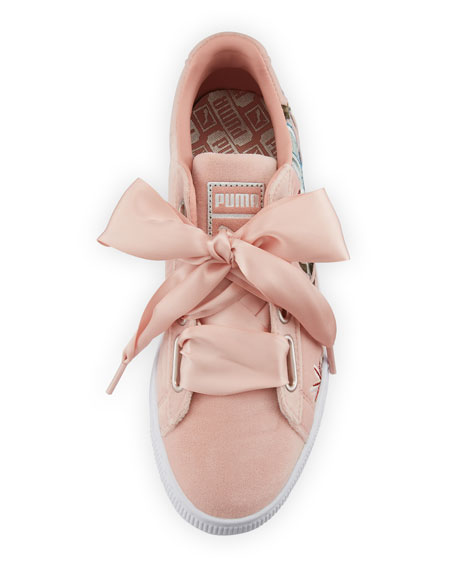 Basket Heart Hyper Embroidered Sneakers, Pink