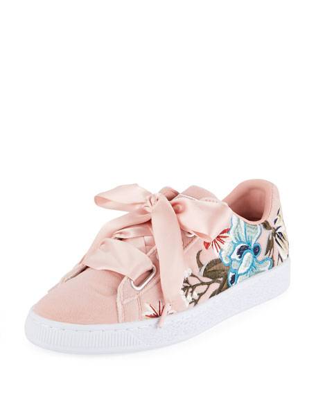 Puma Basket Heart Hyper Embroidered Sneaker, Pink