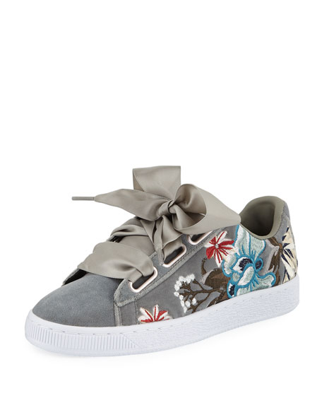 Puma Basket Heart Hyper Embroidered Sneakers, Gray