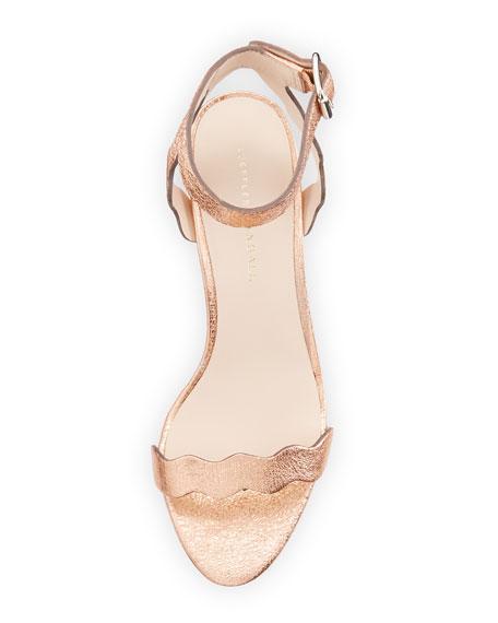 Emi Wavy Crinkle Metallic Ankle-Wrap Sandal