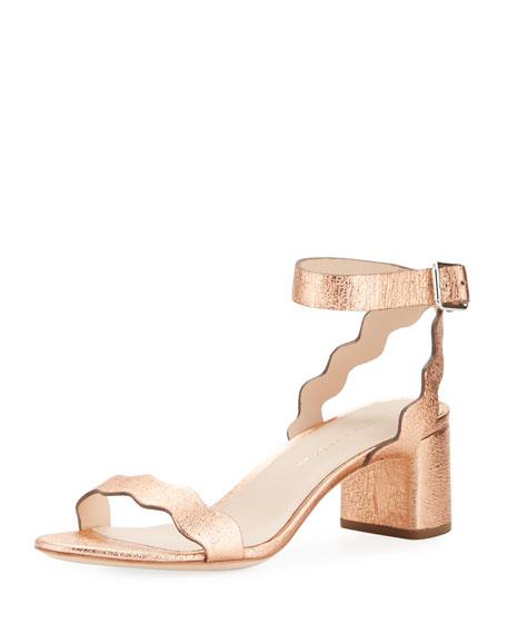 Loeffler Randall Emi Wavy Crinkle Metallic Ankle-Wrap Sandal