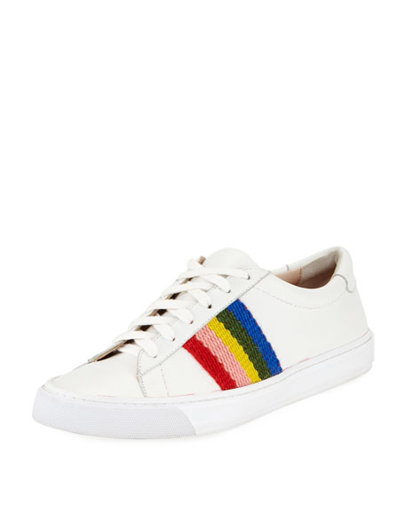Loeffler Randall Women's Logan Leather Stripe Low Top Lace Up Sneakers The Best Store To Get IikxnuvKgm