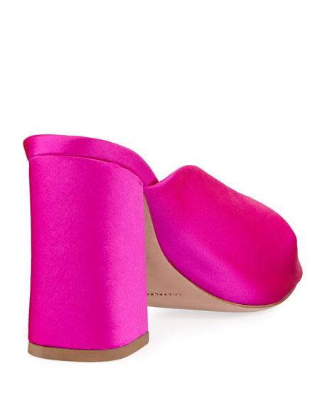 Laurel Satin Block-Heel Slide Sandal