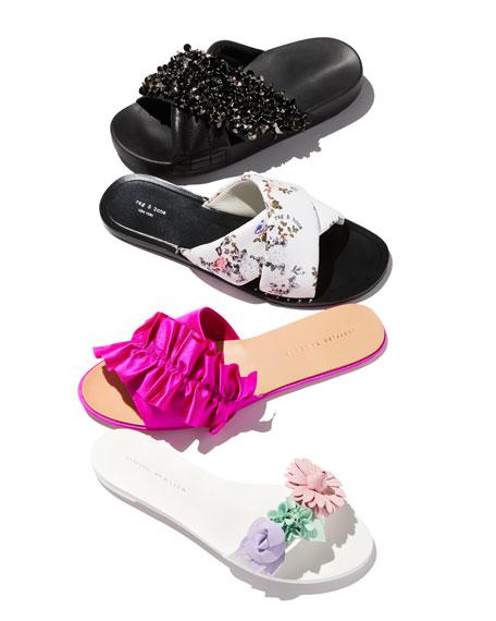 Rey Satin Ruffle Flat Sandal