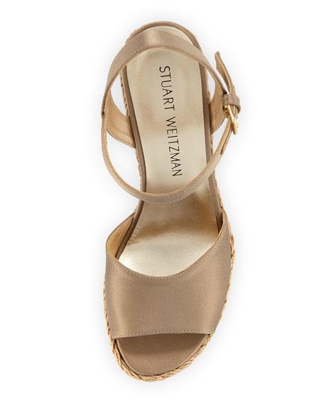 Clean Satin Wedge Espadrille Sandal